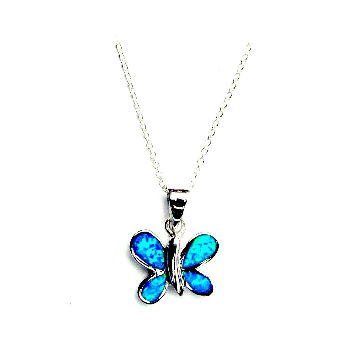 Beautiful Blue Opal Butterfly Necklace
