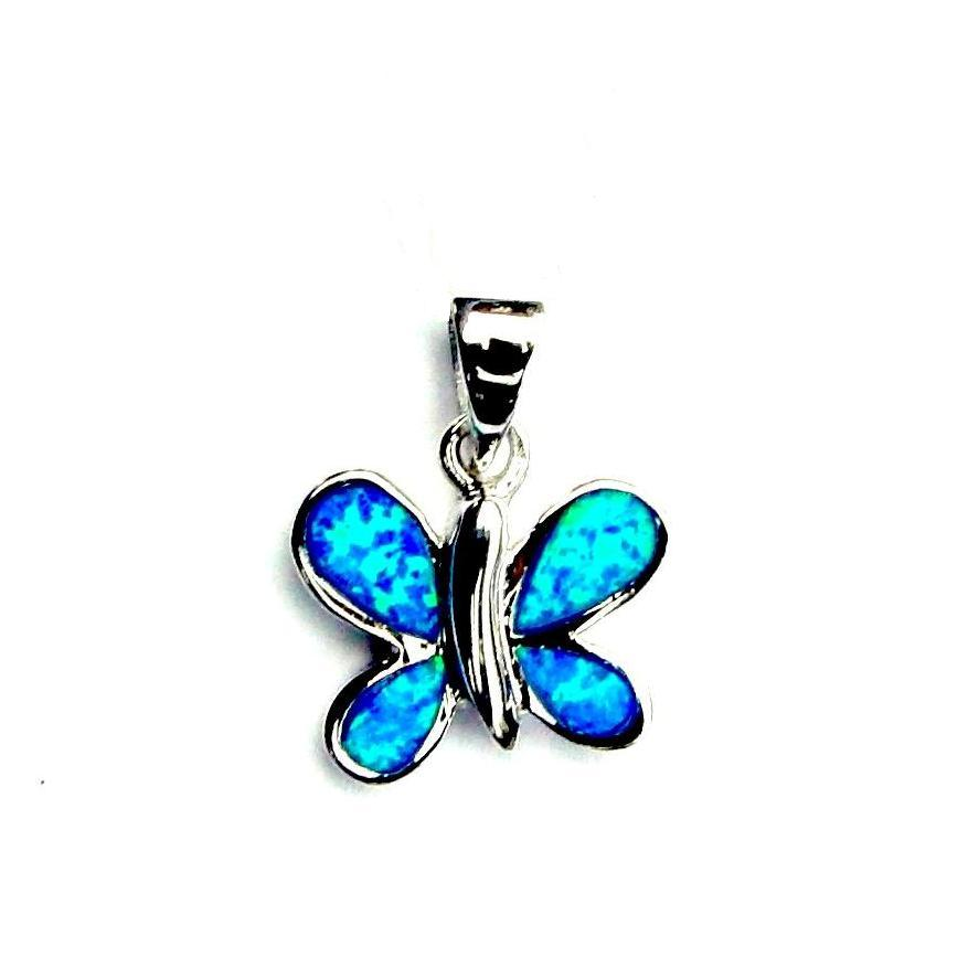 Beautiful Blue Opal Butterfly Pendant