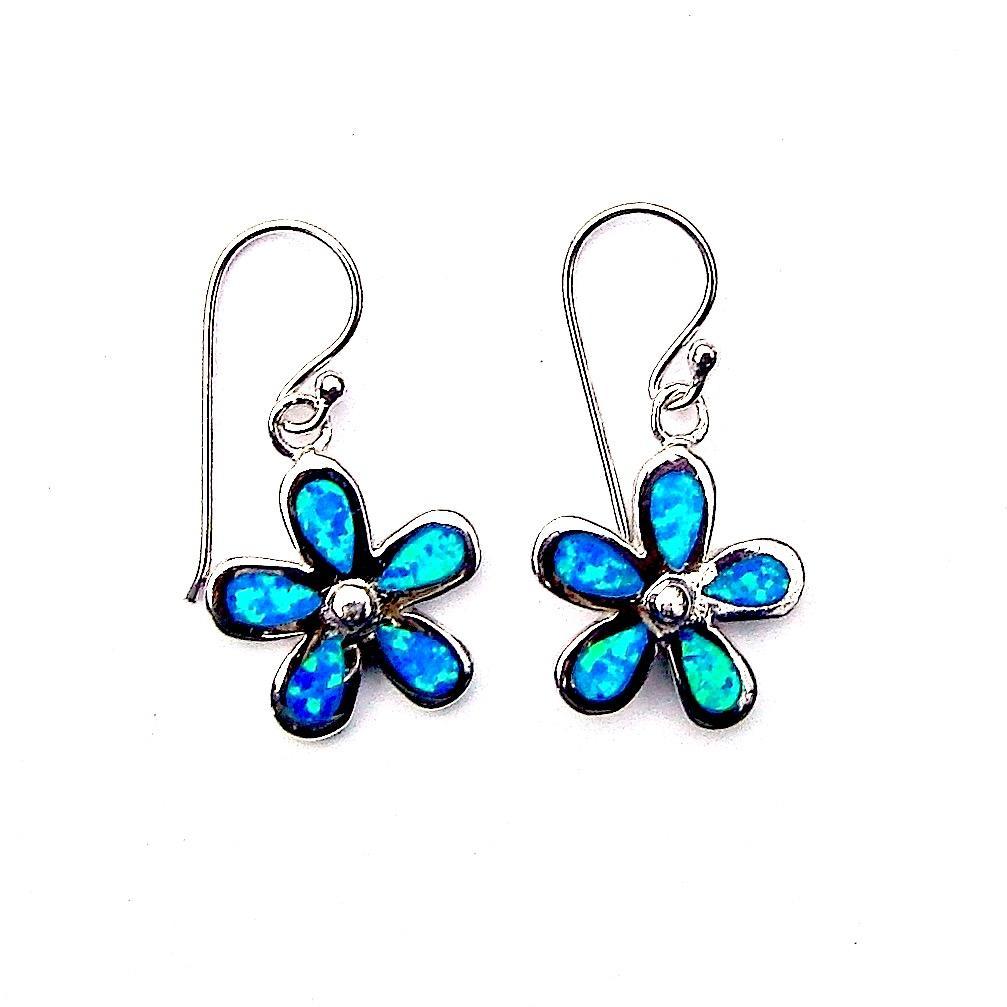 Stunning Blue Opal Flower Earrings