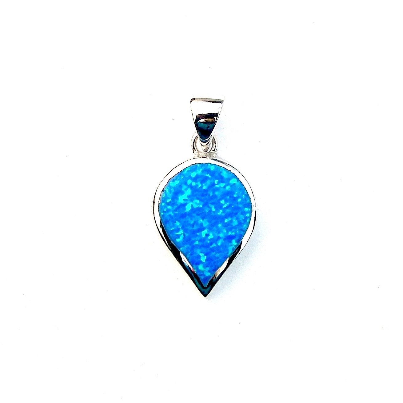 Beautiful Blue Opal Inverted Teardrop Pendant