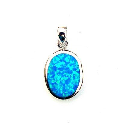 Beautiful Blue Opal Oval Pendant