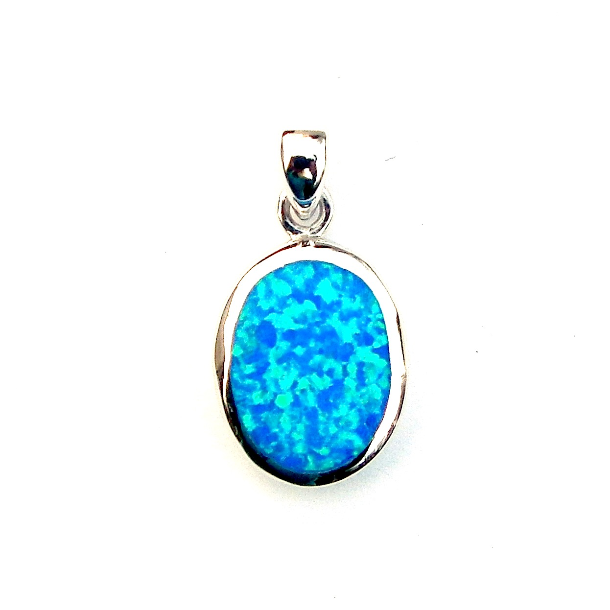 Beautiful Blue Opal Oval Pendant