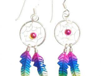 Beautiful Large Rainbow Dreamcatcher Earrings