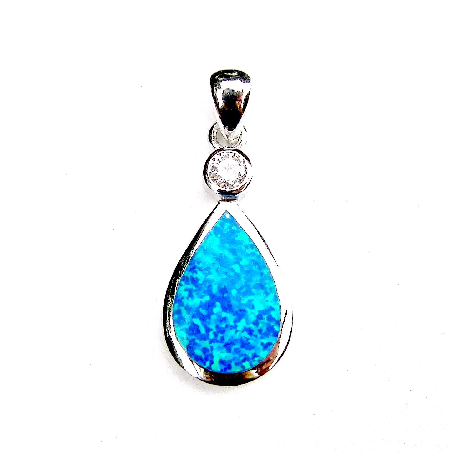 Beautiful Large Blue Opal Teardrop Pendant