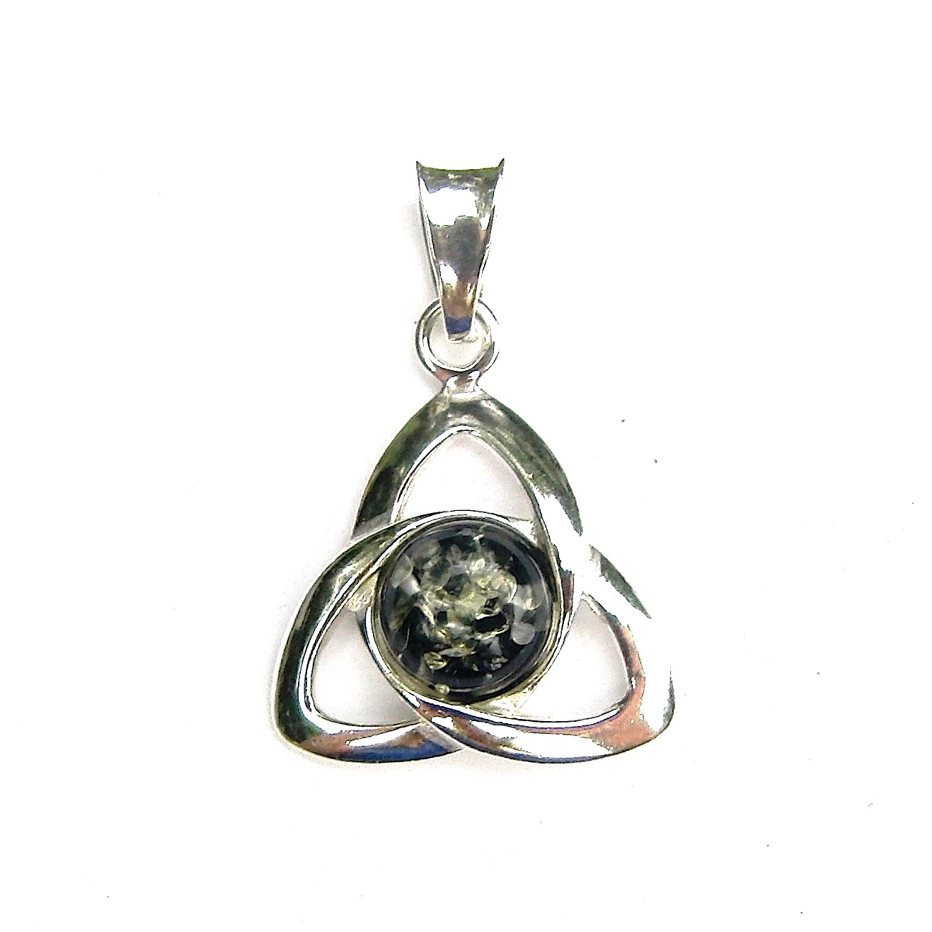 Large Green Amber Goddess Triquetra Pendant