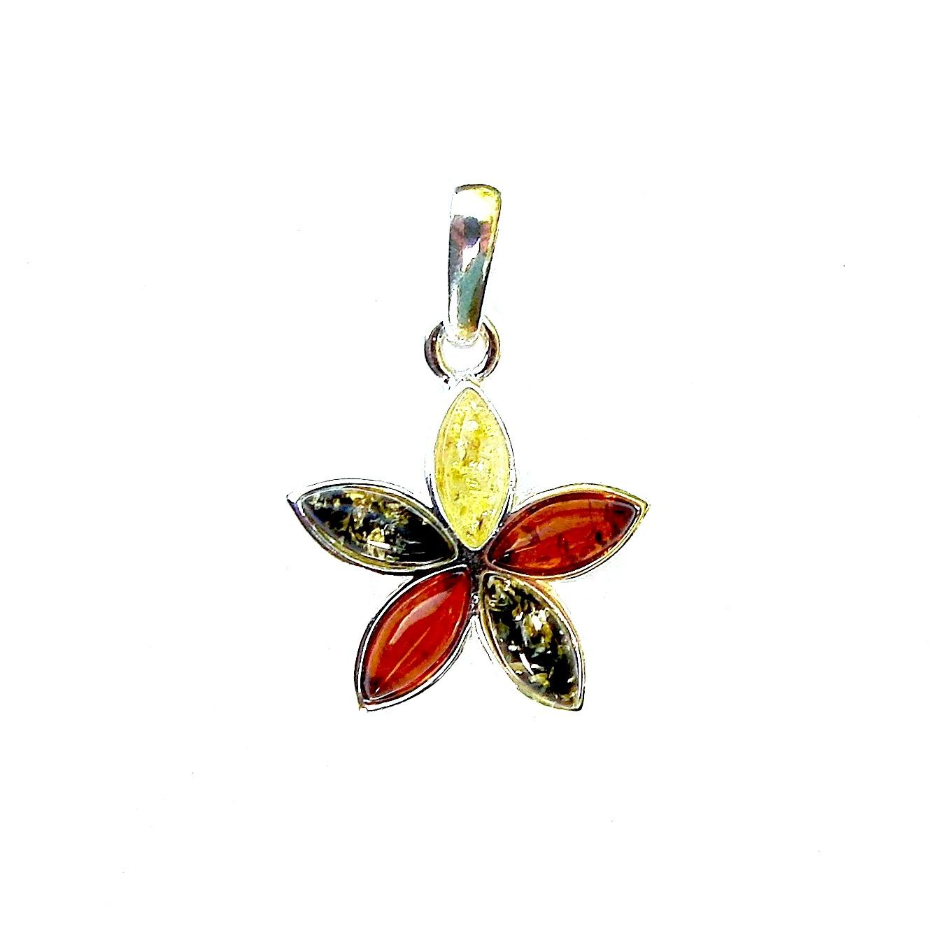 Beautiful Mixed Amber Flower Pendant