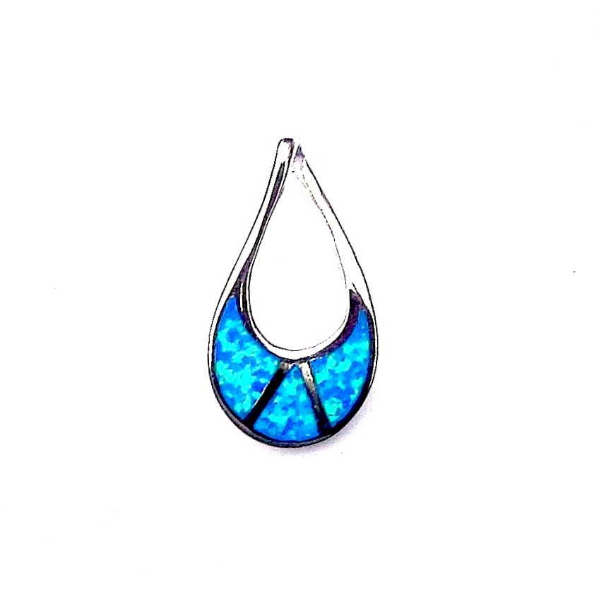 Stunning Blue Opal Teardrop Outline Pendant