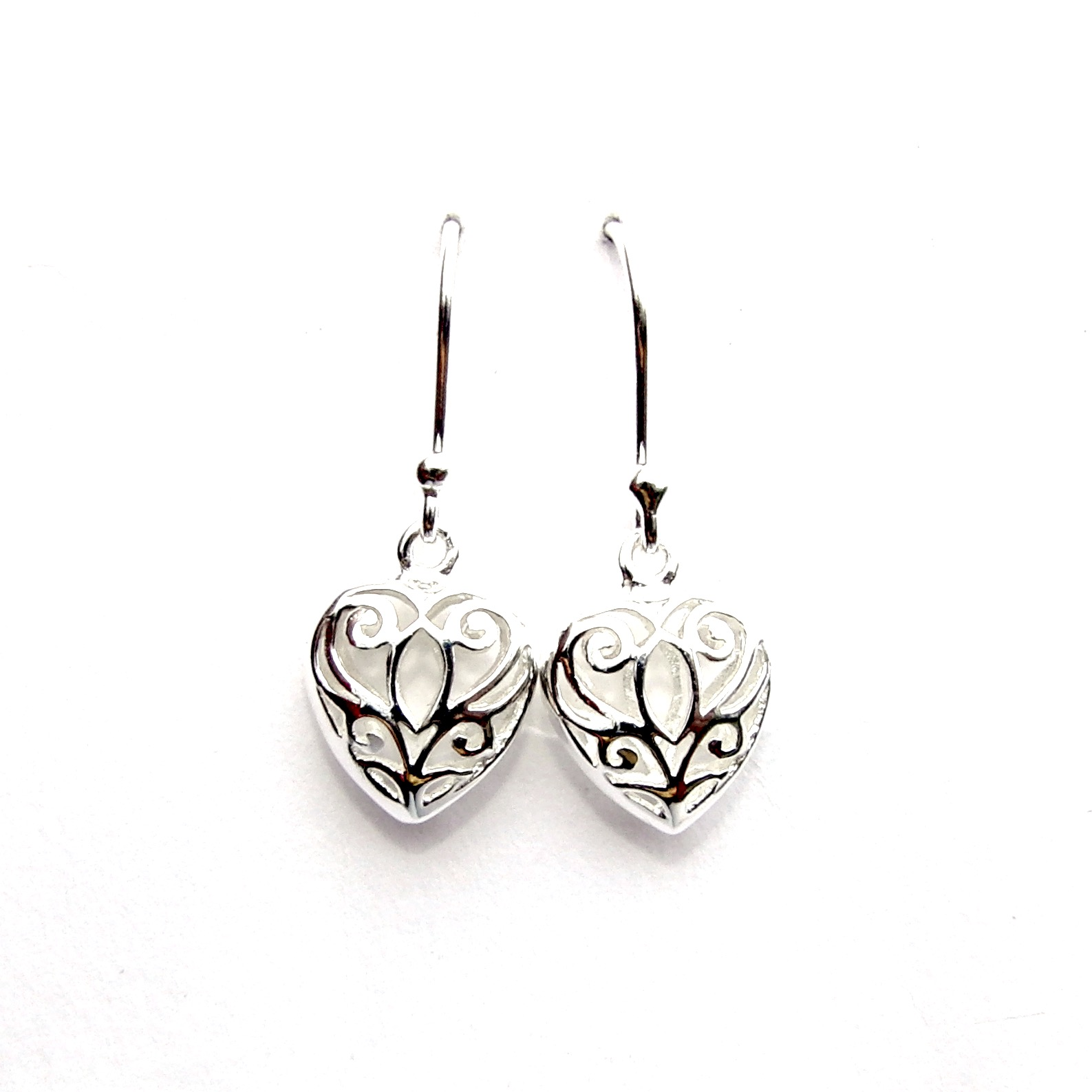 Filigree Puff Heart Earrings