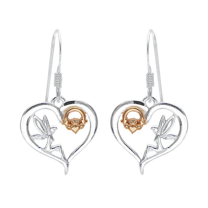 Celtic Fairy Claddagh Heart Earrings.
