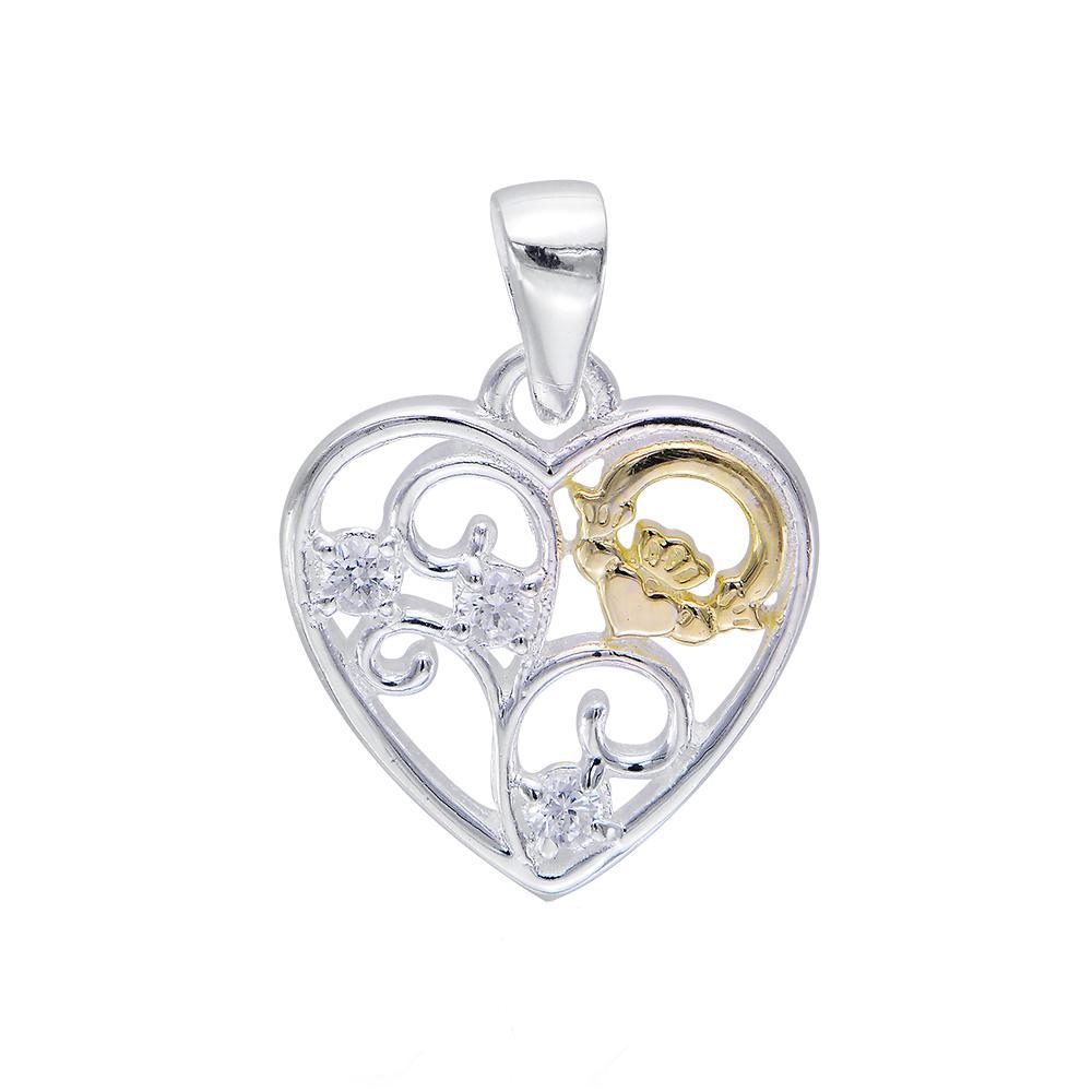 Celtic Claddagh Filigree Heart Pendant