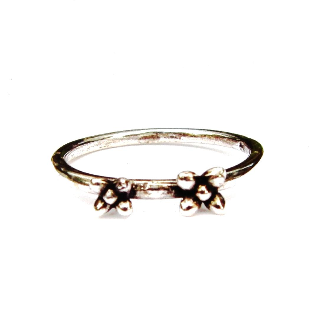 Double Flower Spacer Silver Stacking Ring