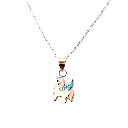 Enameled Child's Unicorn Necklace