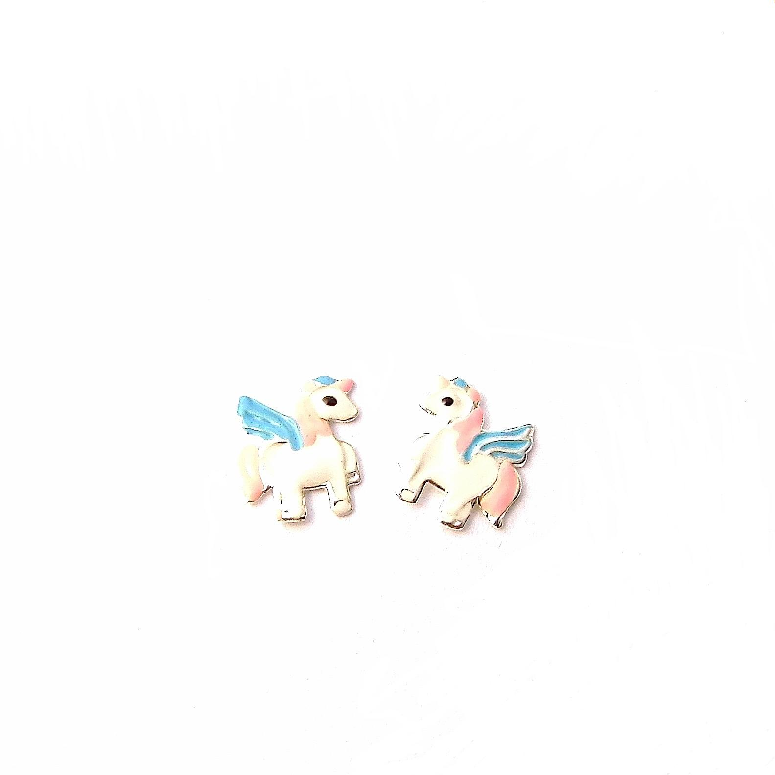 Enameled Child's Unicorn Studs