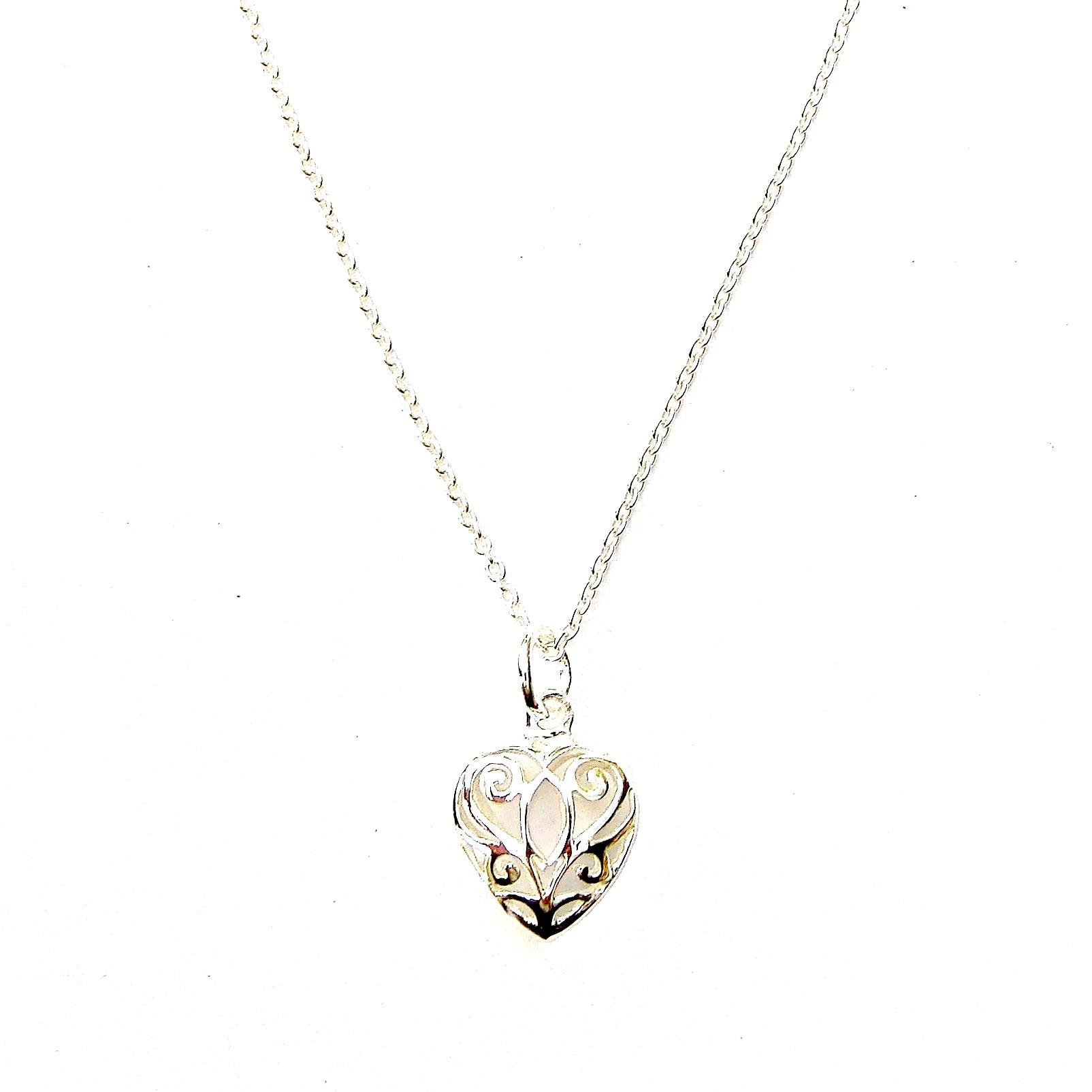 Filigree Puff Heart Necklace