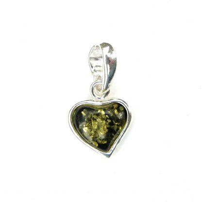 Stunning Dainty Green Amber Heart Pendant