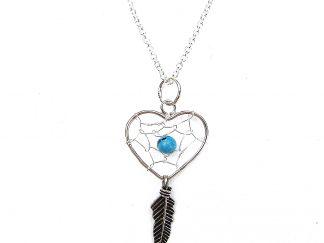 Beautiful Heart Dreamcatcher Necklace.