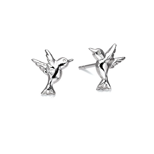 Beautiful Silver Humming Bird Studs