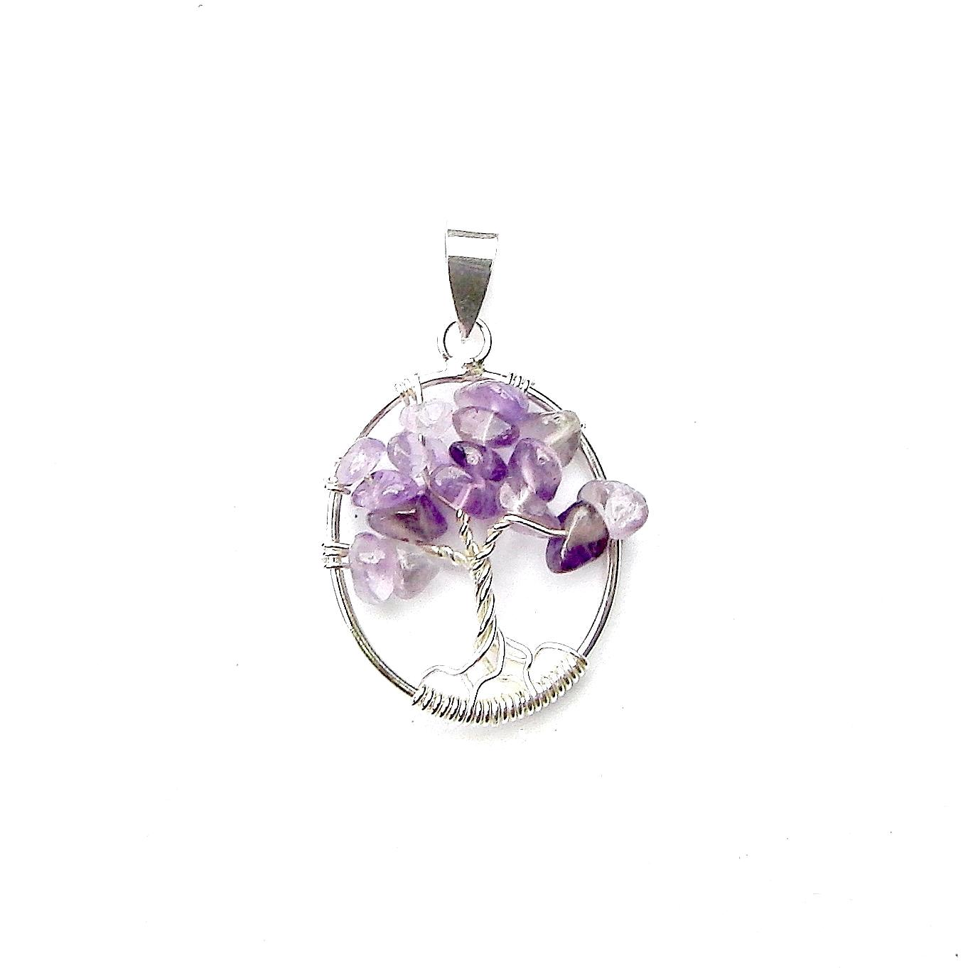 Beautiful Oval Amethyst Tree of Life Pendant.