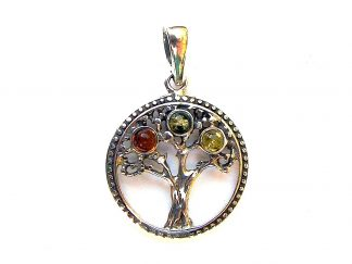 Lovely Mixed Amber Tree of Life Pendant.