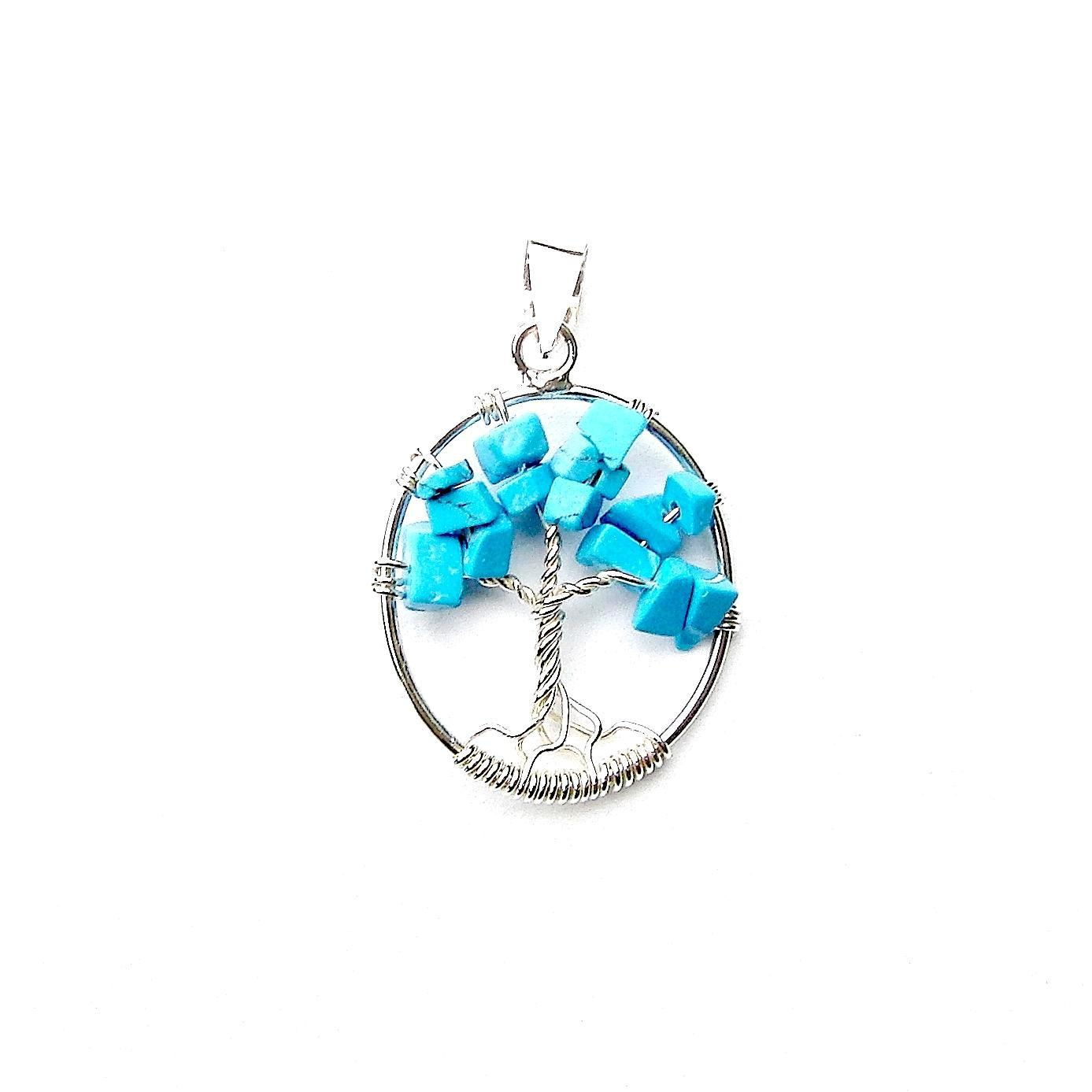 Beautiful Oval Turquoise Tree of Life Pendant