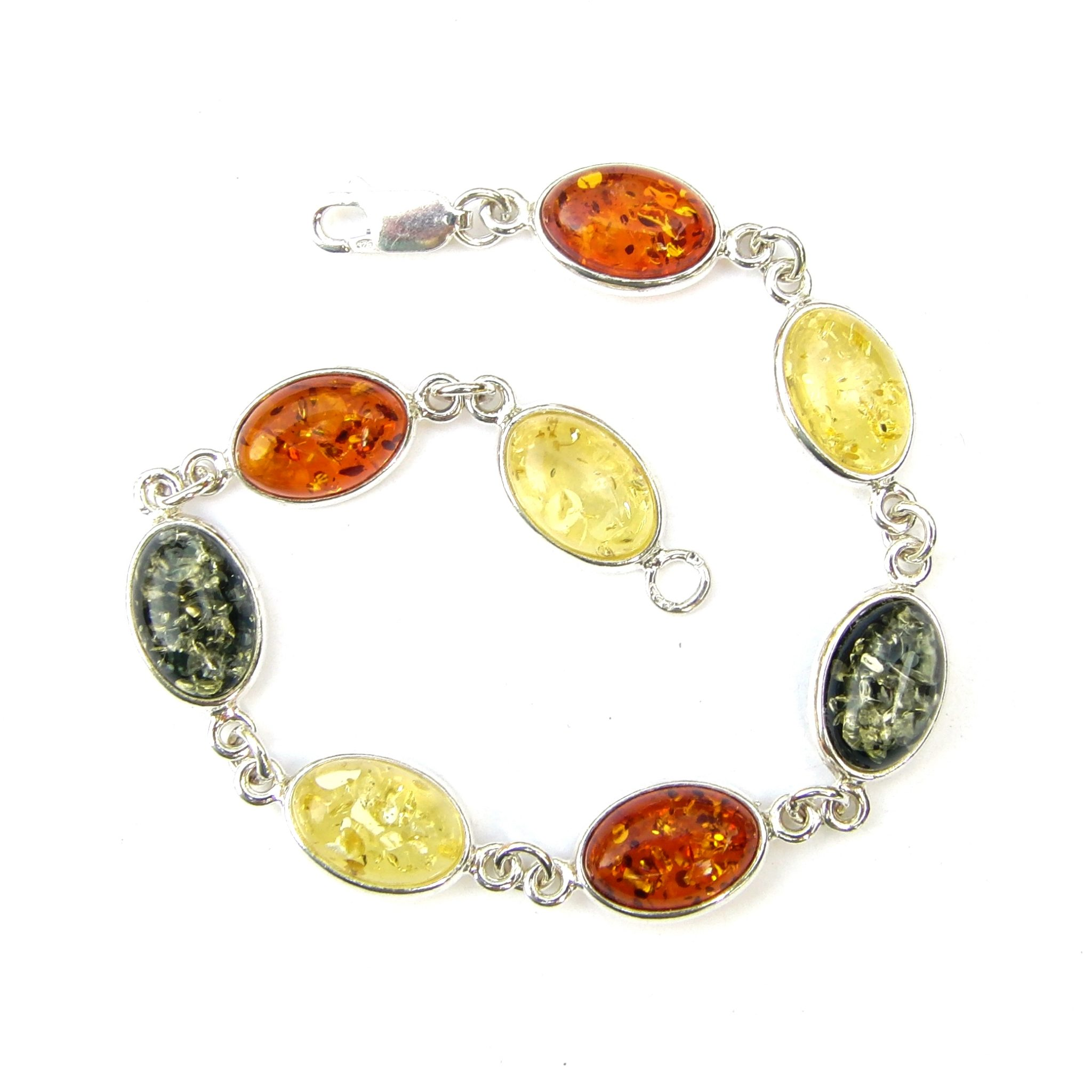 Beautiful Mixed Amber Oval Cabochon Bracelet