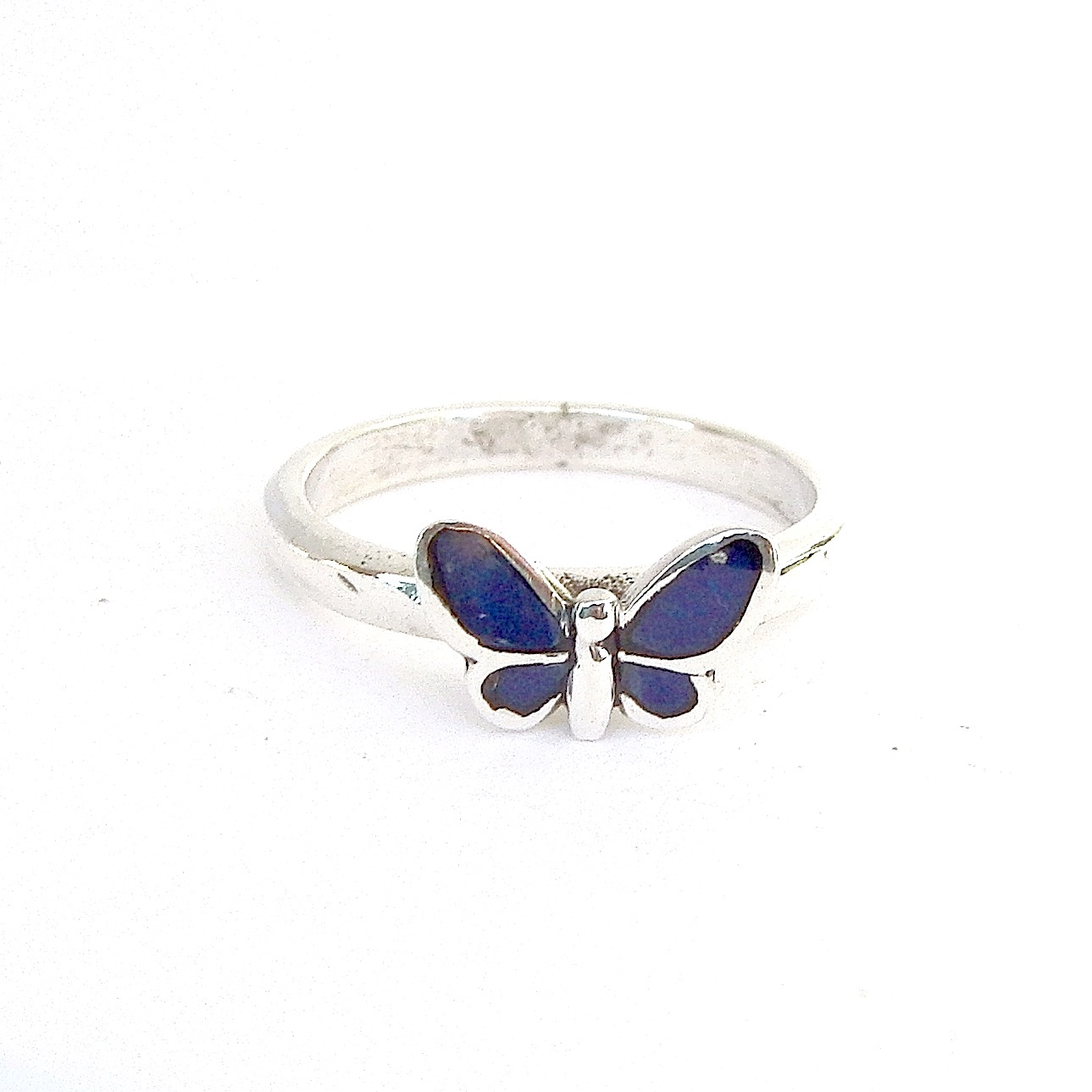 Pretty Purple Enameled Butterfly Silver Ring