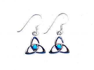 Pretty Turquoise Goddess Triquetra Earrings