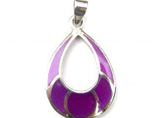 Beautiful Large Purple Shell Silver Pendant