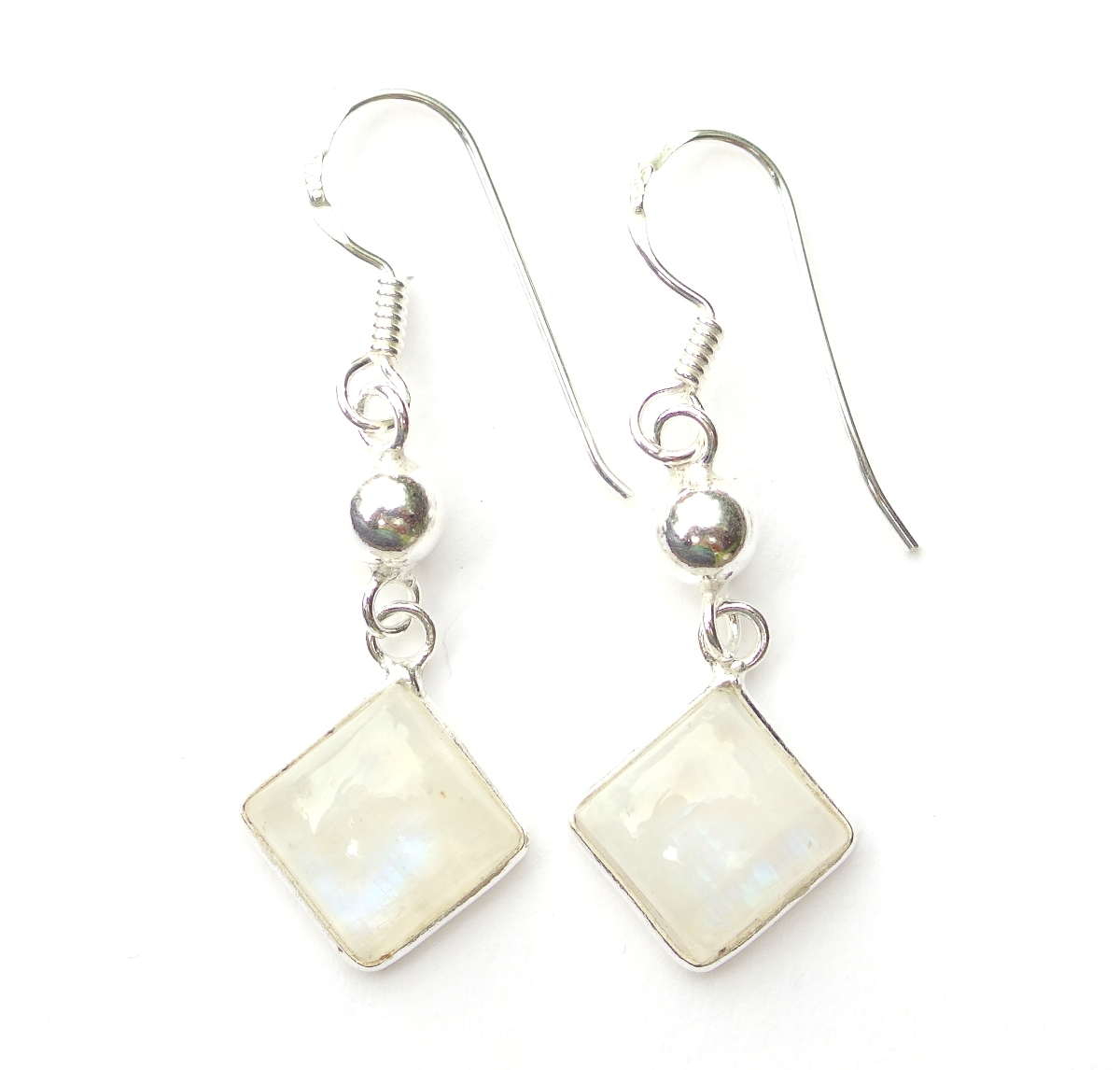 Rainbow Moonstone Doiamond Hanging Earrings