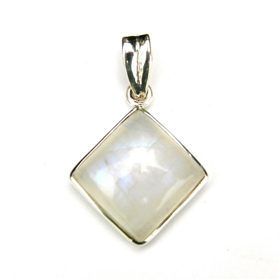 Rainbow Moonstone Diamond Pendant.