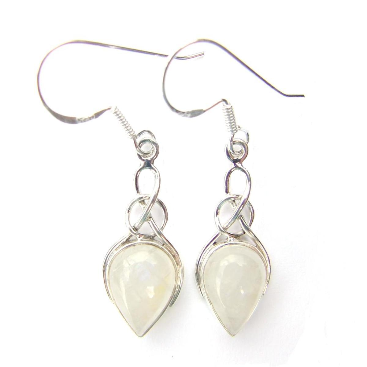 Moonstone Teardrop Knot Earrings