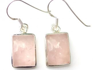 Rose Quartz Rectangular Earrings