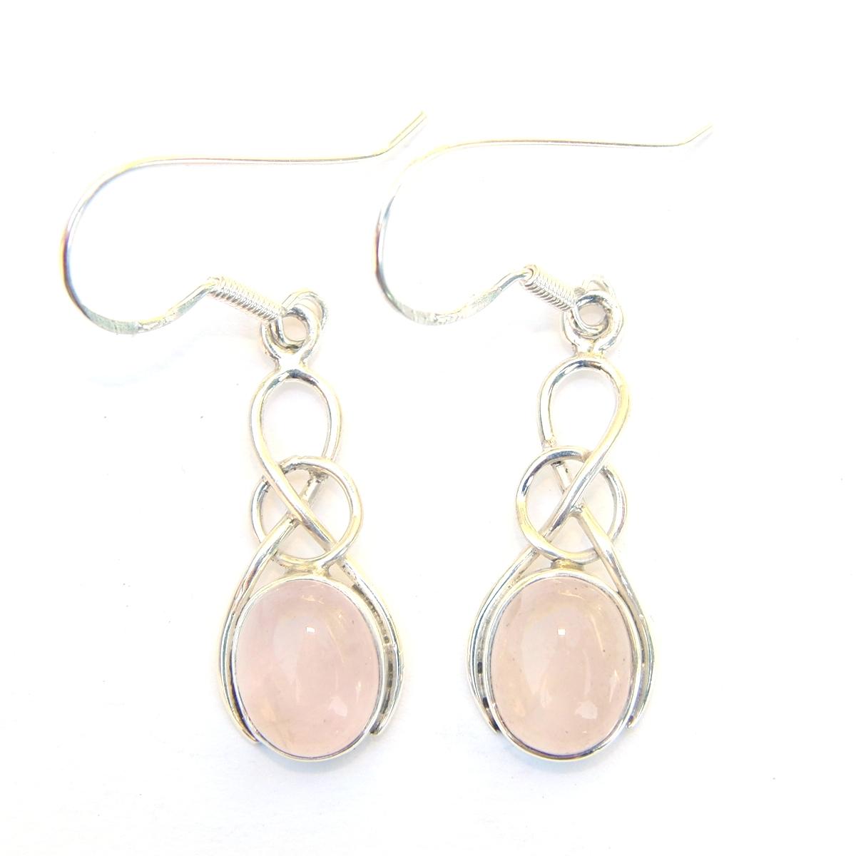 Rose Quartz Oval Knot Earrings