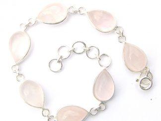 Rose Quartz Teardrop Bracelet.