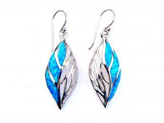 Beautiful Large Blue Opal Decorative Earrings