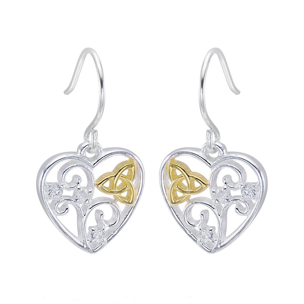 Celtic Trinity Knot Filigree Heart Earrings