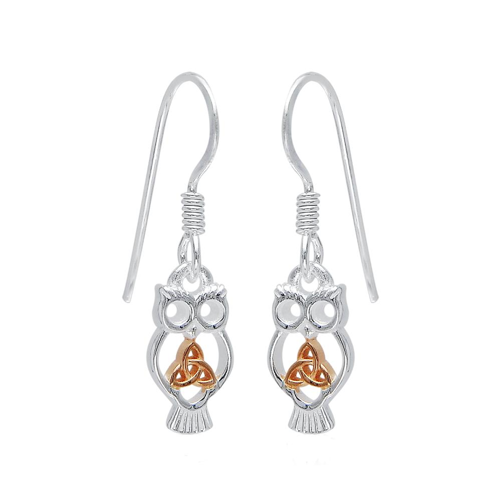 Celtic Trinity Knot Owl Earrings