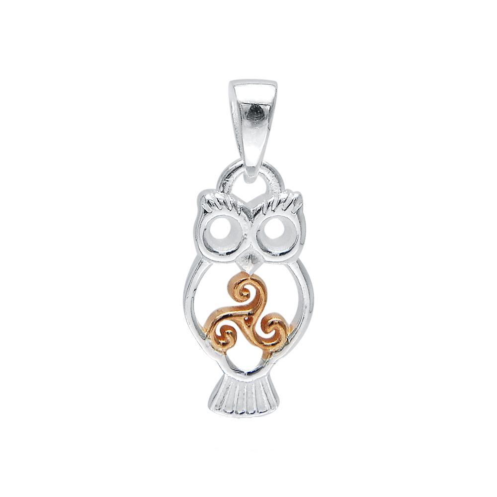 Celtic Triskele Owl Pendant