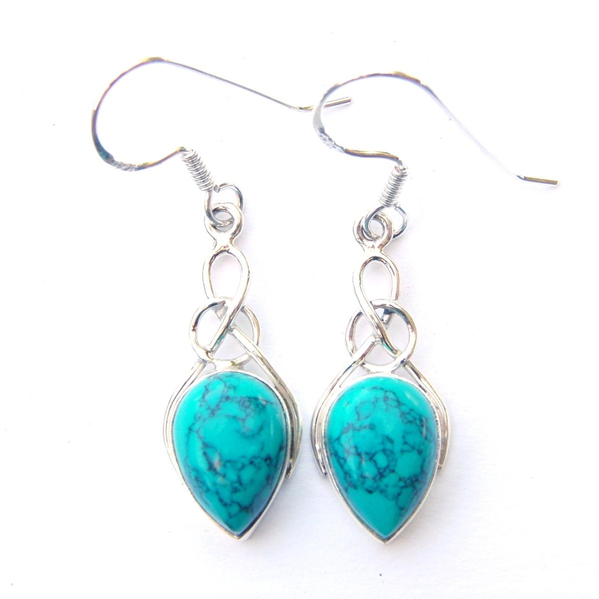 Turquoise Teardrop Knot Earrings