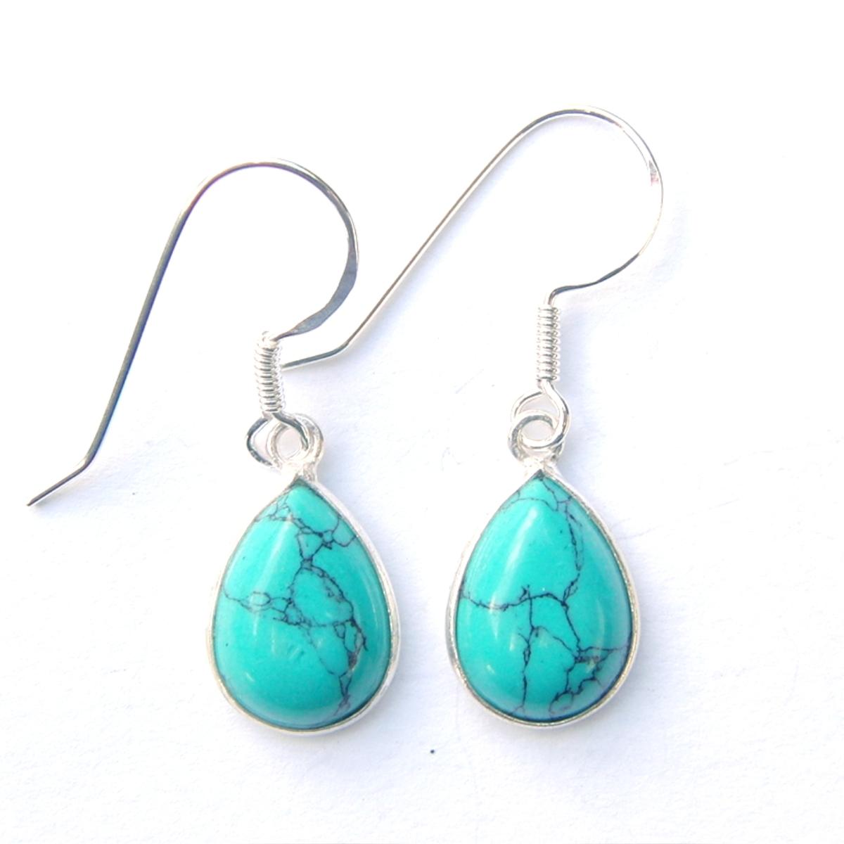 Turquoise Large Teardrop Earrings