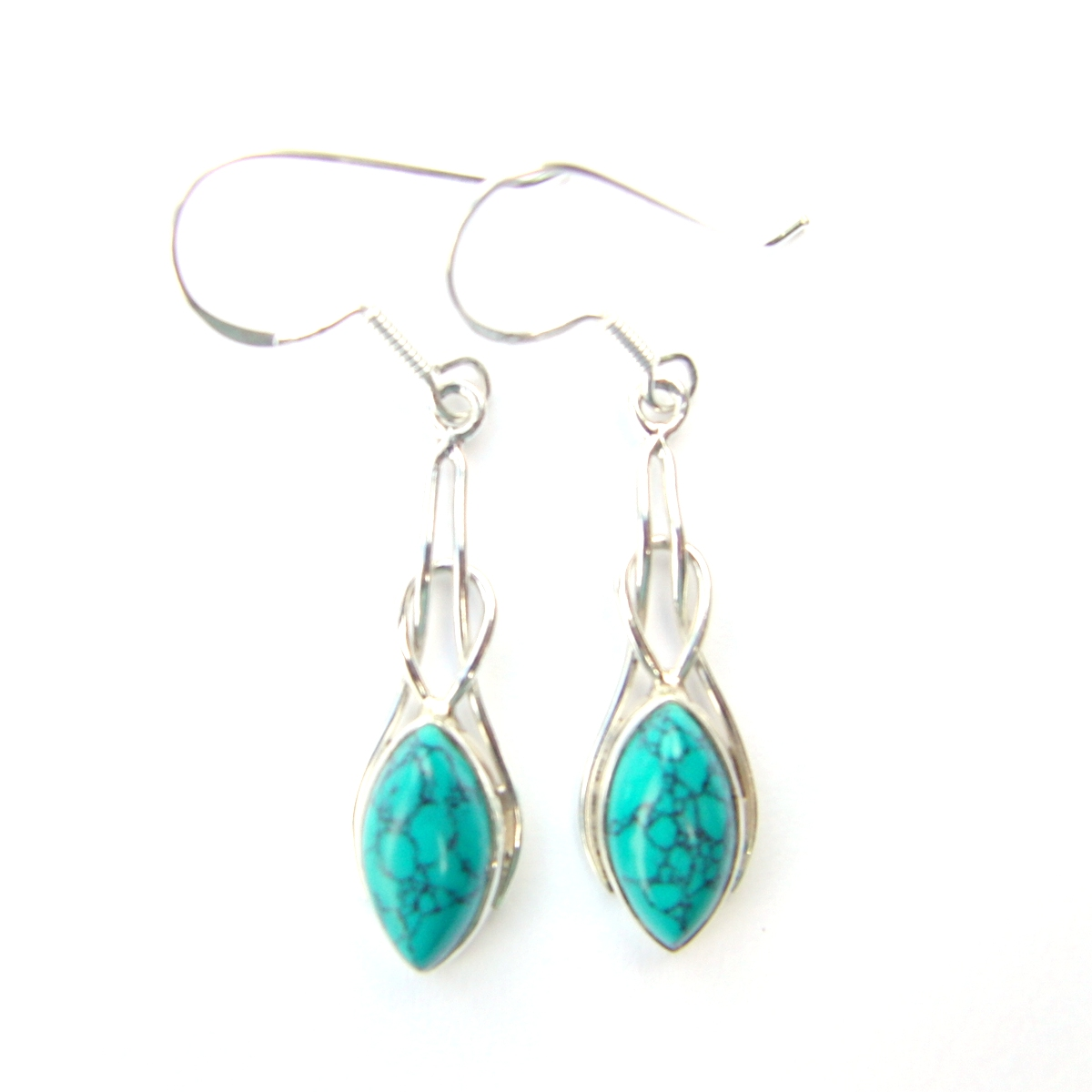 Turquoise Marquise Knot Earrings