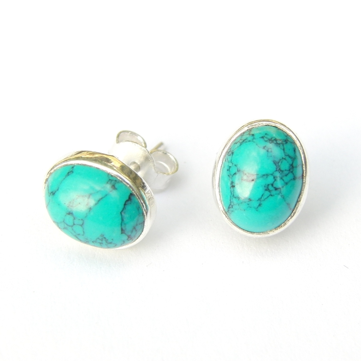 Turquoise Large Oval Studs.