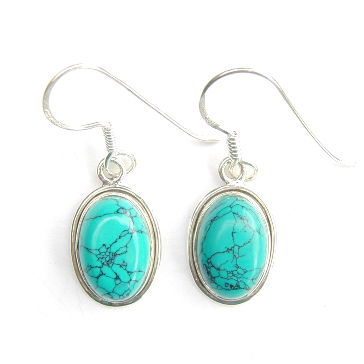 Turquoise Oval Cab Earrings.