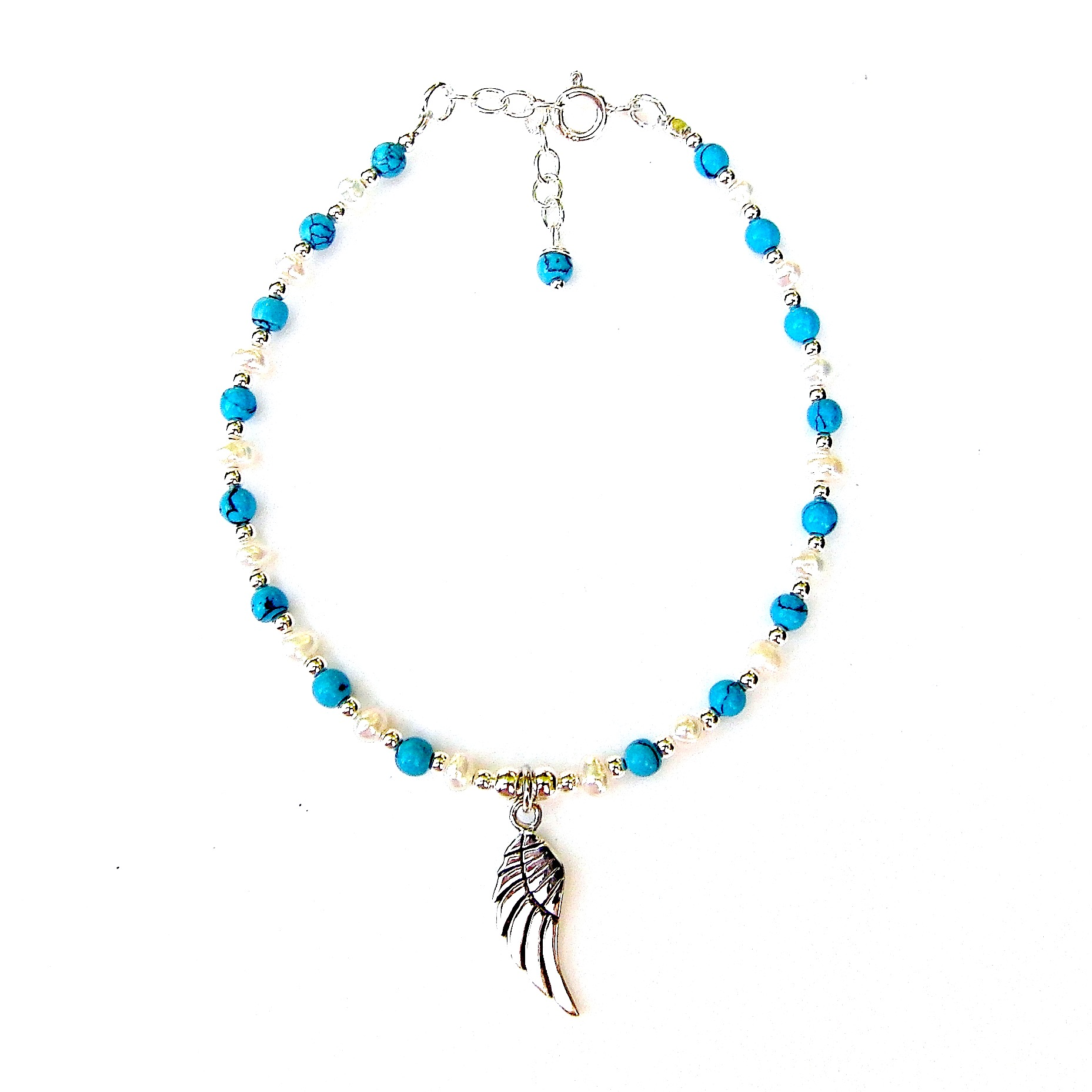Beautiful Turquoise Angel Wing Charm Bracelet
