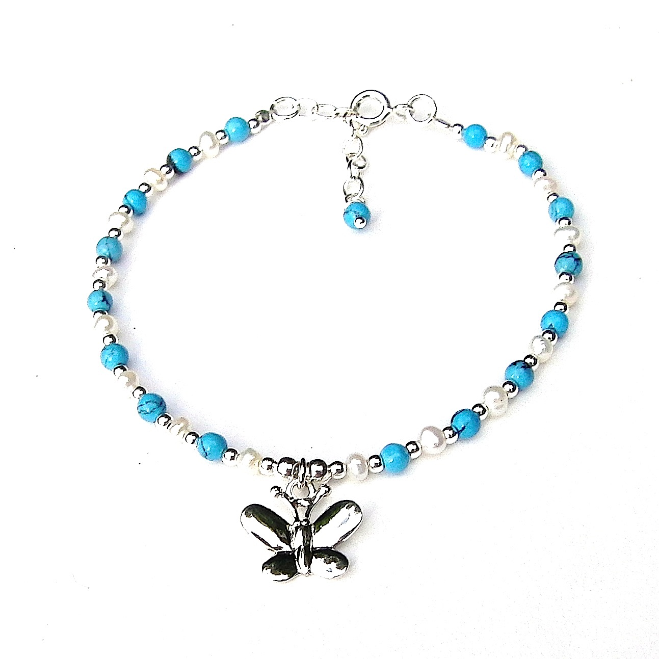 Beautiful Turquoise Butterfly Charm Bracelet