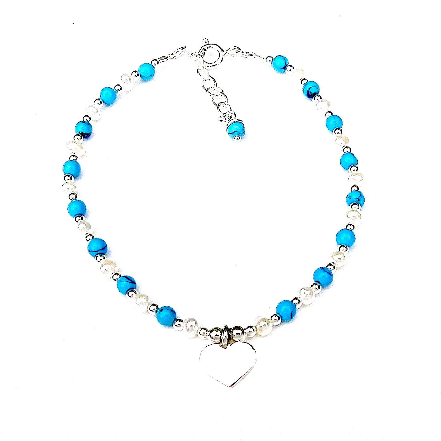 Beautiful Turquoise Heart Charm Bracelet