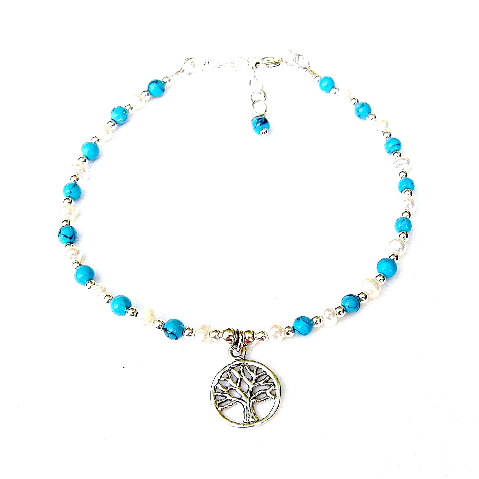 Beautiful Turquoise Tree of Life Charm Bracelet