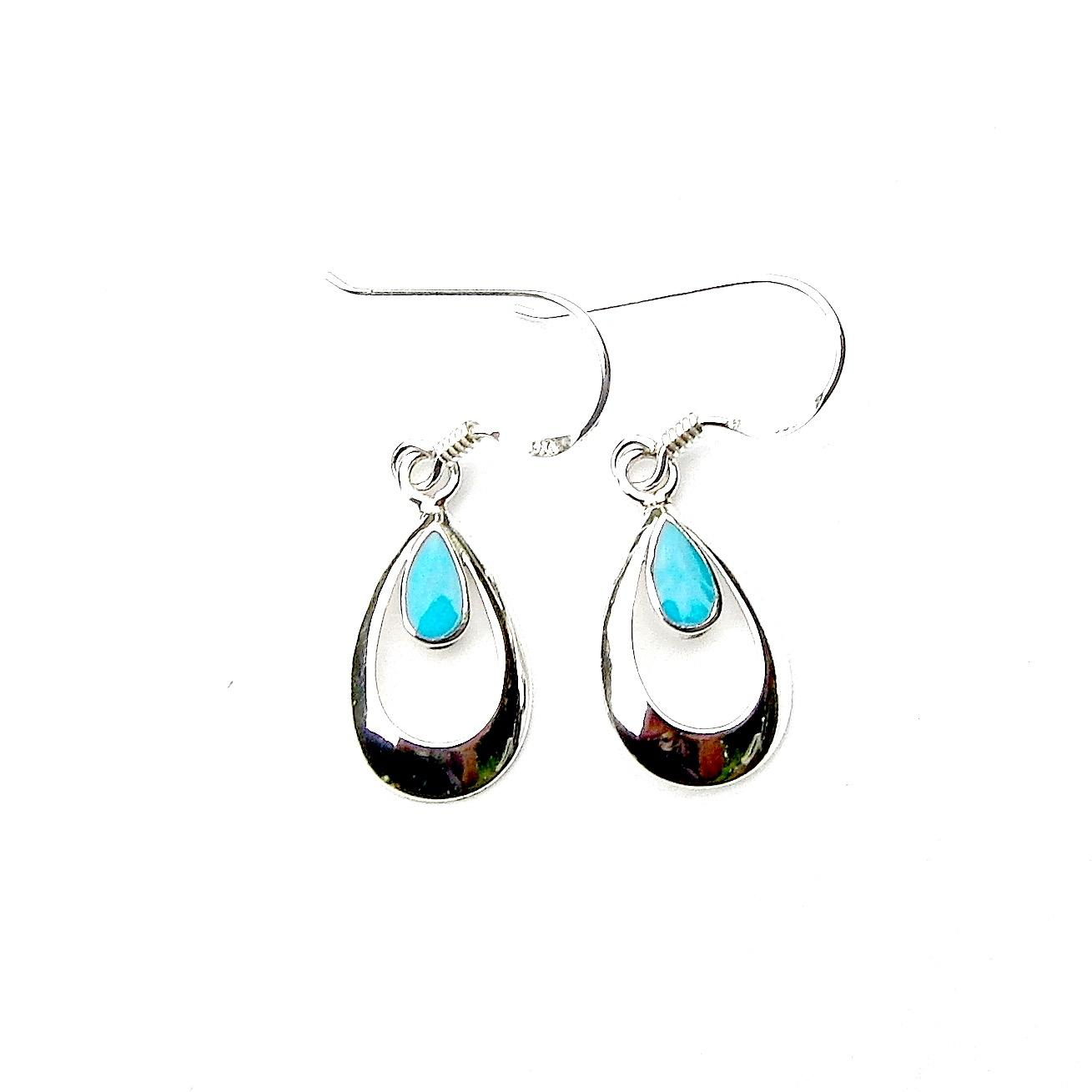 Beautiful Turquoise Teardrop Outline Earrings