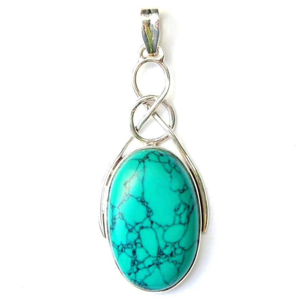 XL Turquoise Oval Knot Pendant