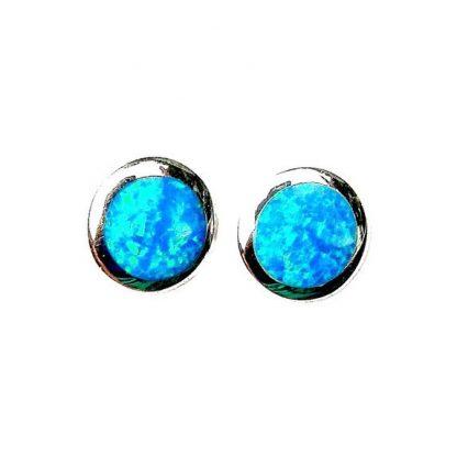 Stunning Large Blue Opal Round Studs